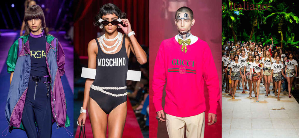 Looks from L-R: Versace, Moschino, Gucci and Dolce & Gabbana. Photos: Imaxtre