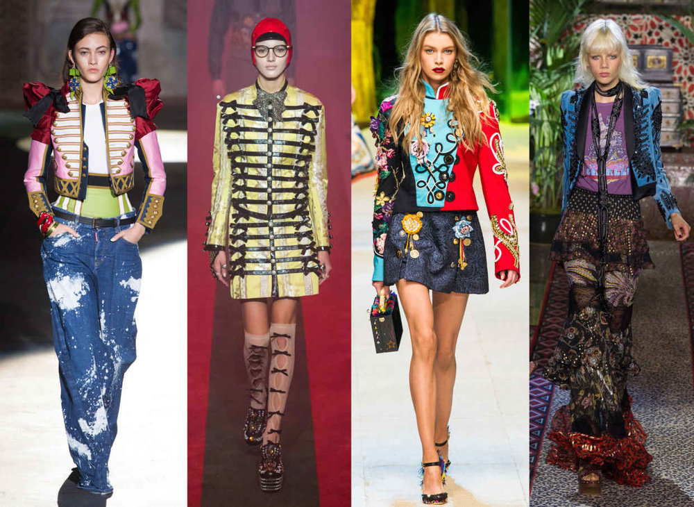 Looks from L-R: Dsquared2, Gucci, Dolce & Gabbana and Roberto Cavalli. Photos: Imaxtre