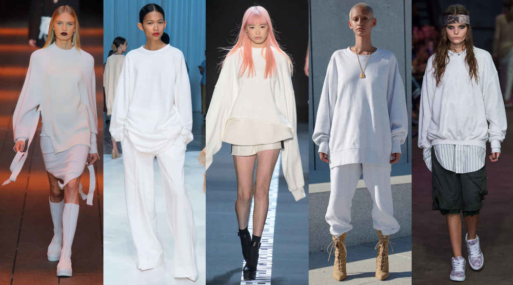 From left to right: DKNY, Ryan Roche, Vera Wang, Yeezy, Baja East. Photo: Imaxtre
