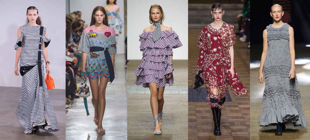 Looks from L-R: Toga, Peter Pilotto, House of Holland, Simone Rocha and Molly Goddard. Photos: Imaxtree