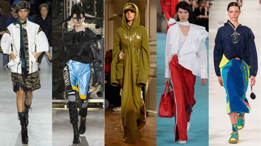 From left: Sacai, Junya Watanabe, Fenty Puma by Rihanna, Off-White and Margiela. Photos: Imaxtree