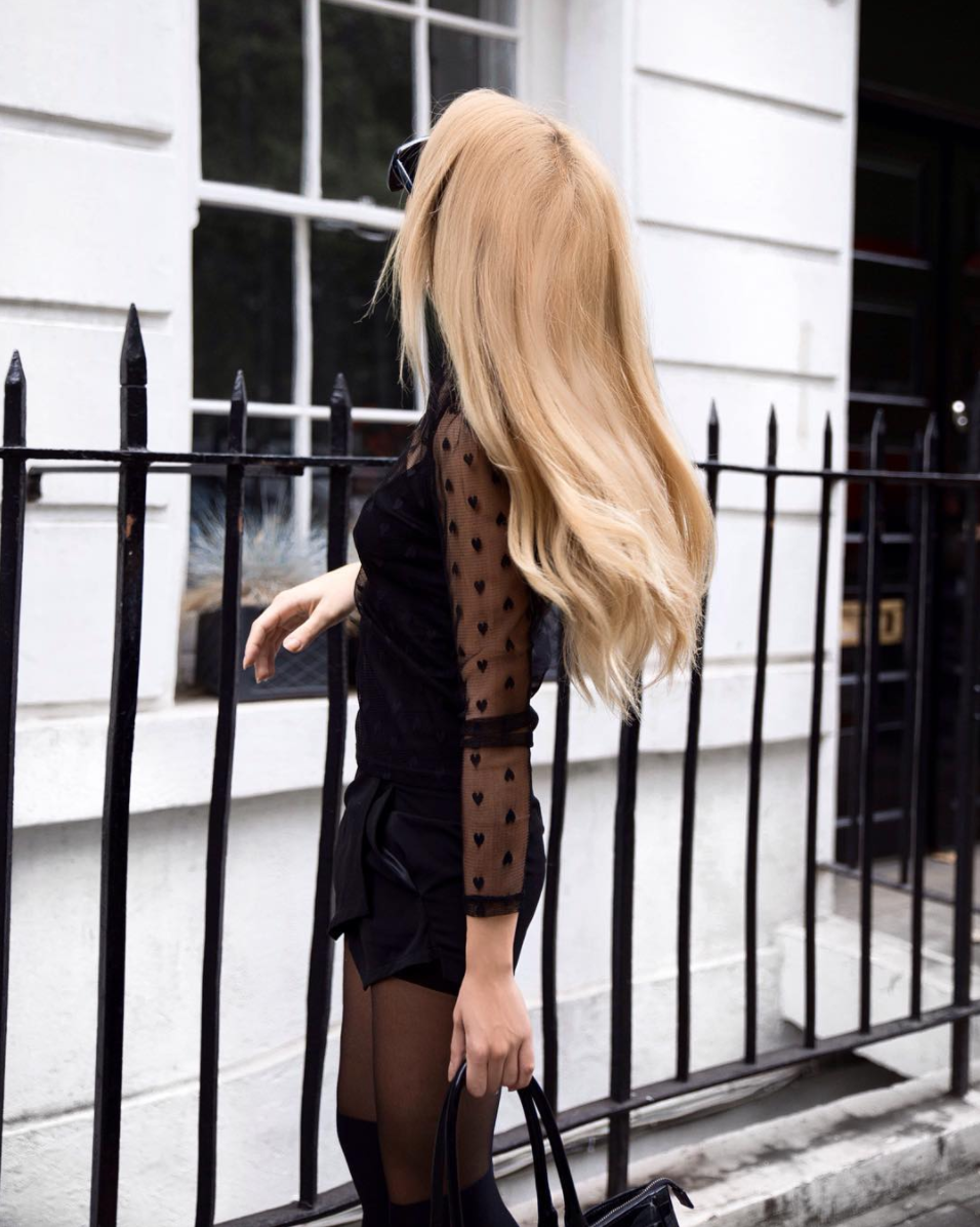black mesh romper london fashion week street style