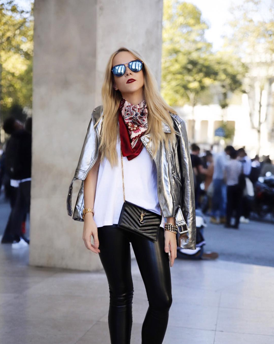 silver jacket street style fashion week shows