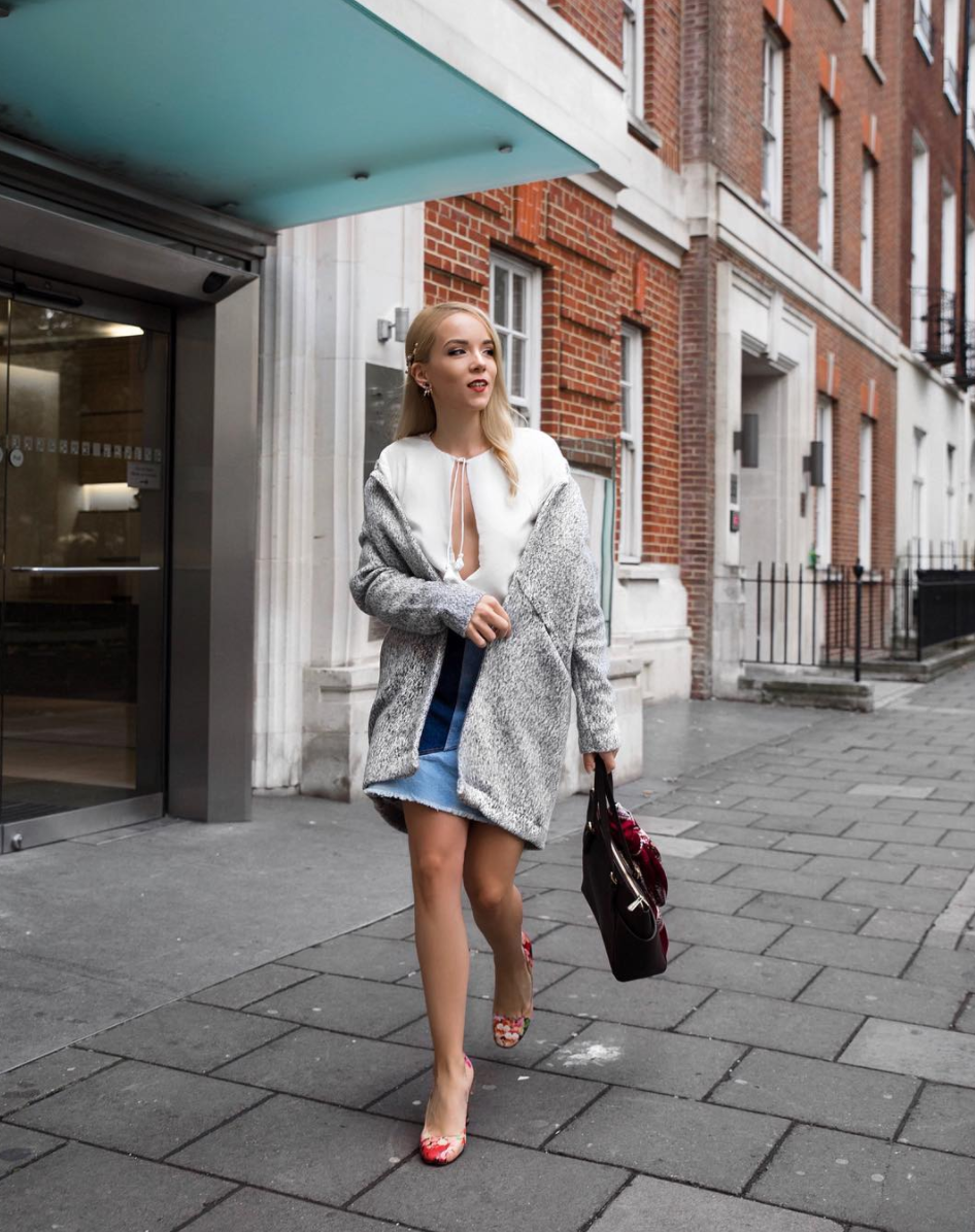wool coat denim skirt soho london street style