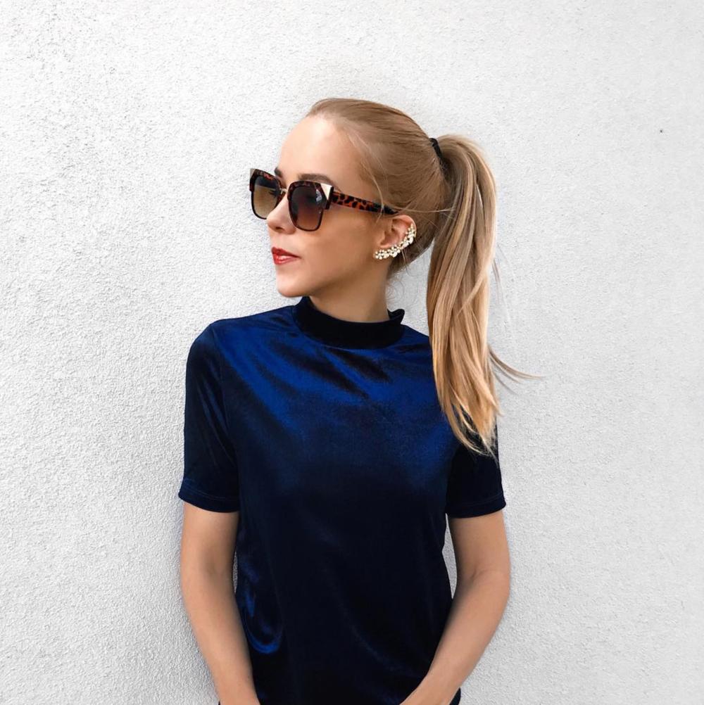 blue velvet style inspiration oversized cat eye sunglasses