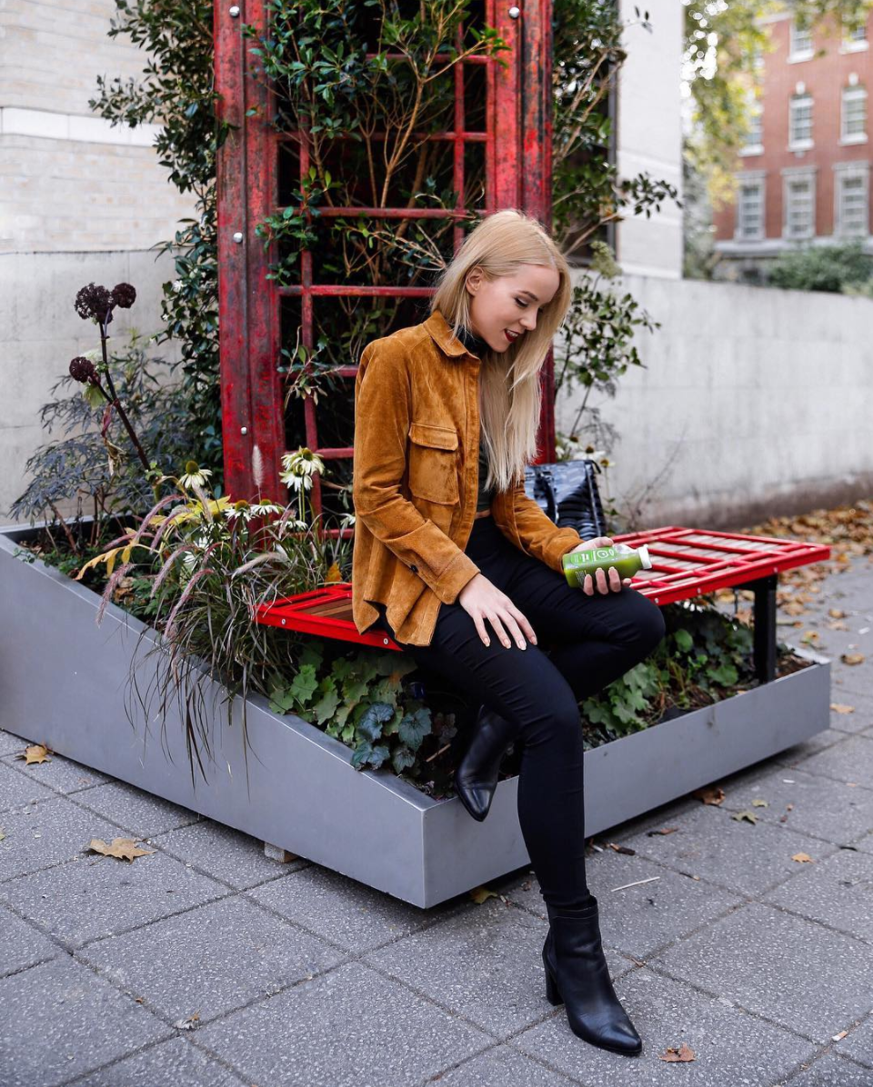 suede jacket green juicing london lifestyle ootd