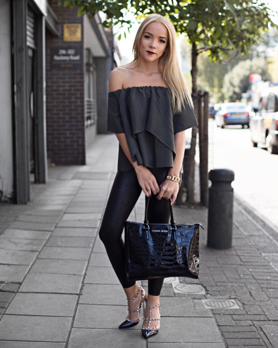 valentino rockstud high heels london street style