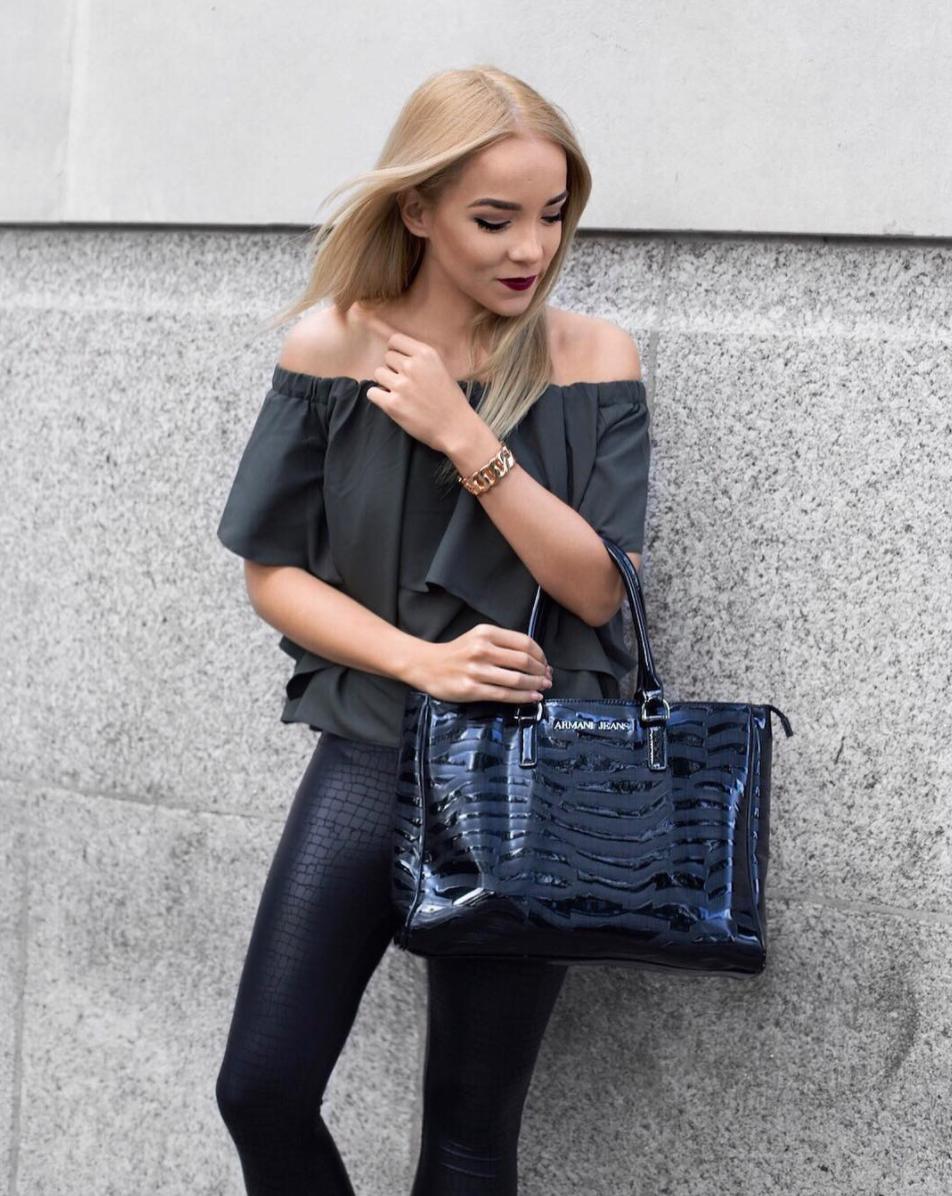 valentino rockstud heels street style inspiration armani bag