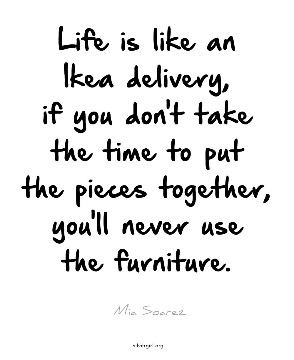 Life is like an Ikea delivery, if you don't take the time to put the pieces together, you'll never use the furniture. - Mia Soarez