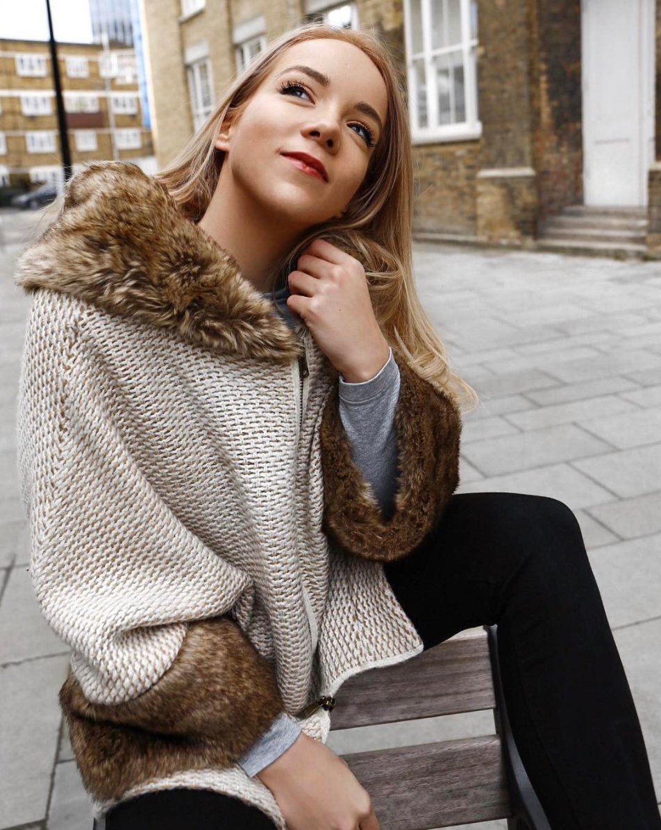warm faux fur jacket winter london street style lookbook