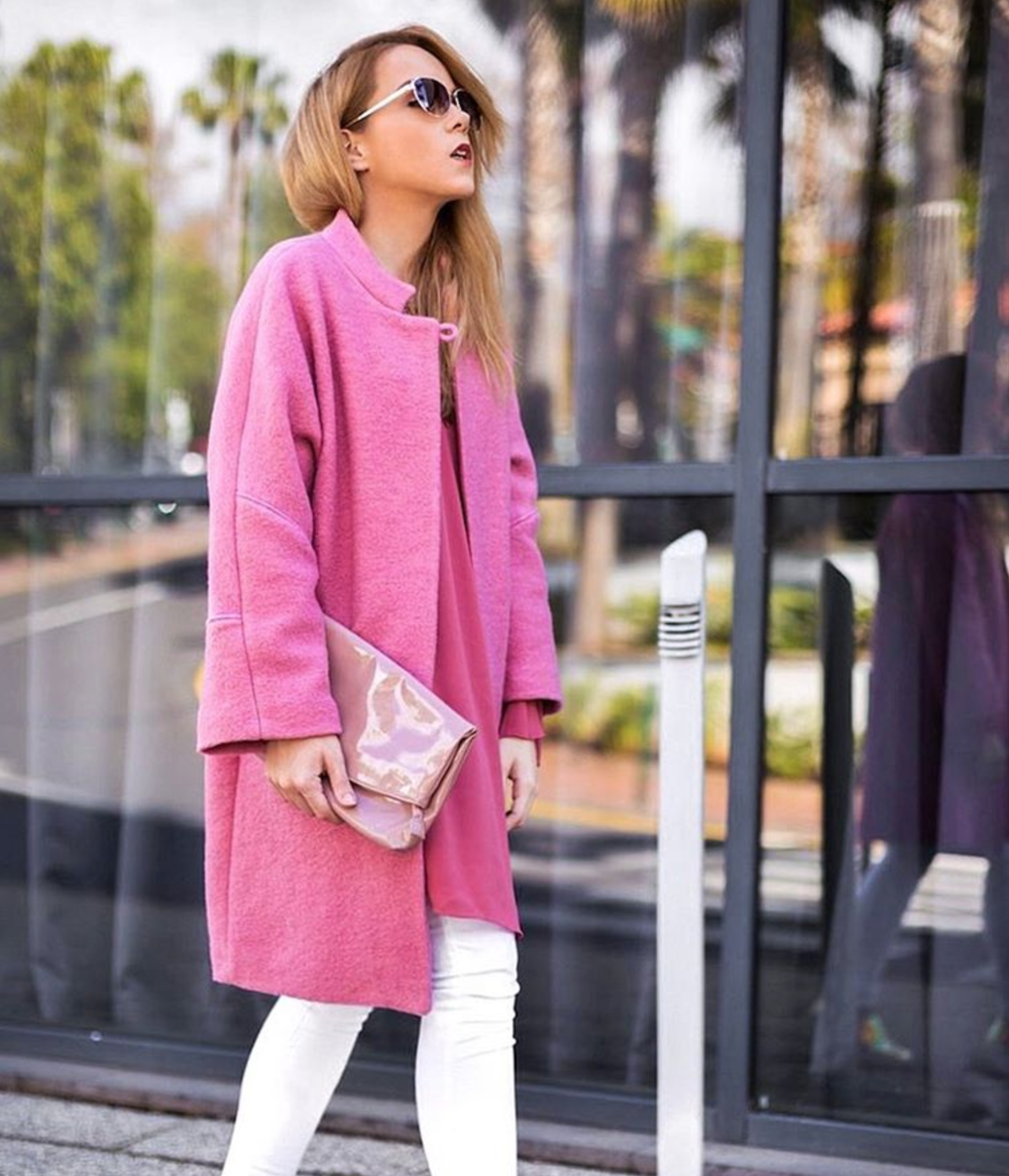 pink long coat style inspiration instagram miasoarez