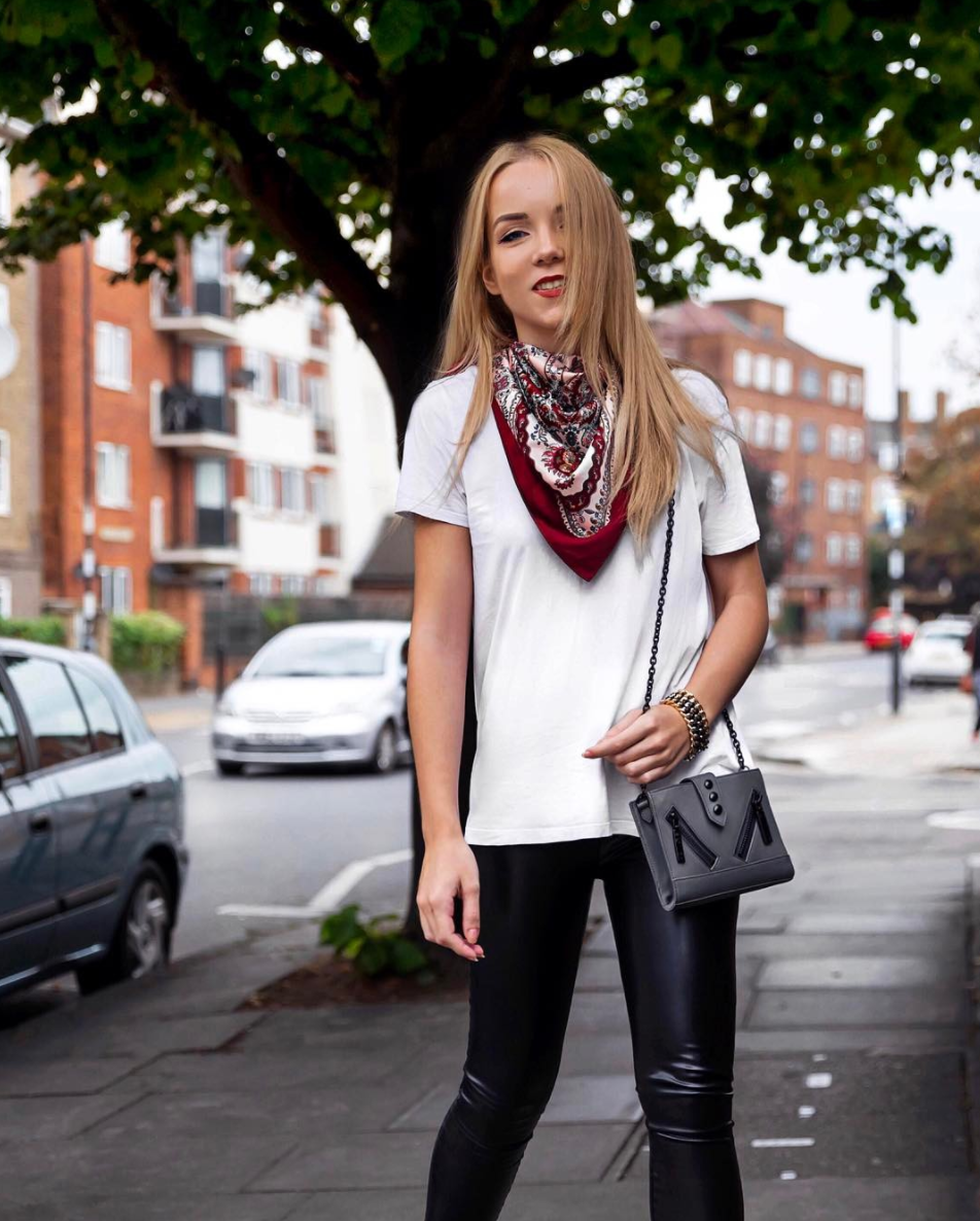 red scarf leather leggings kenzo kalifornia bag white tee style inspiration edgy casual lookbook