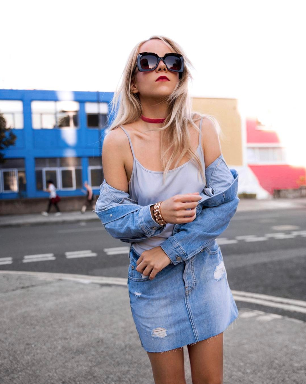 all denim stylish street style outfit of the day hollywood model