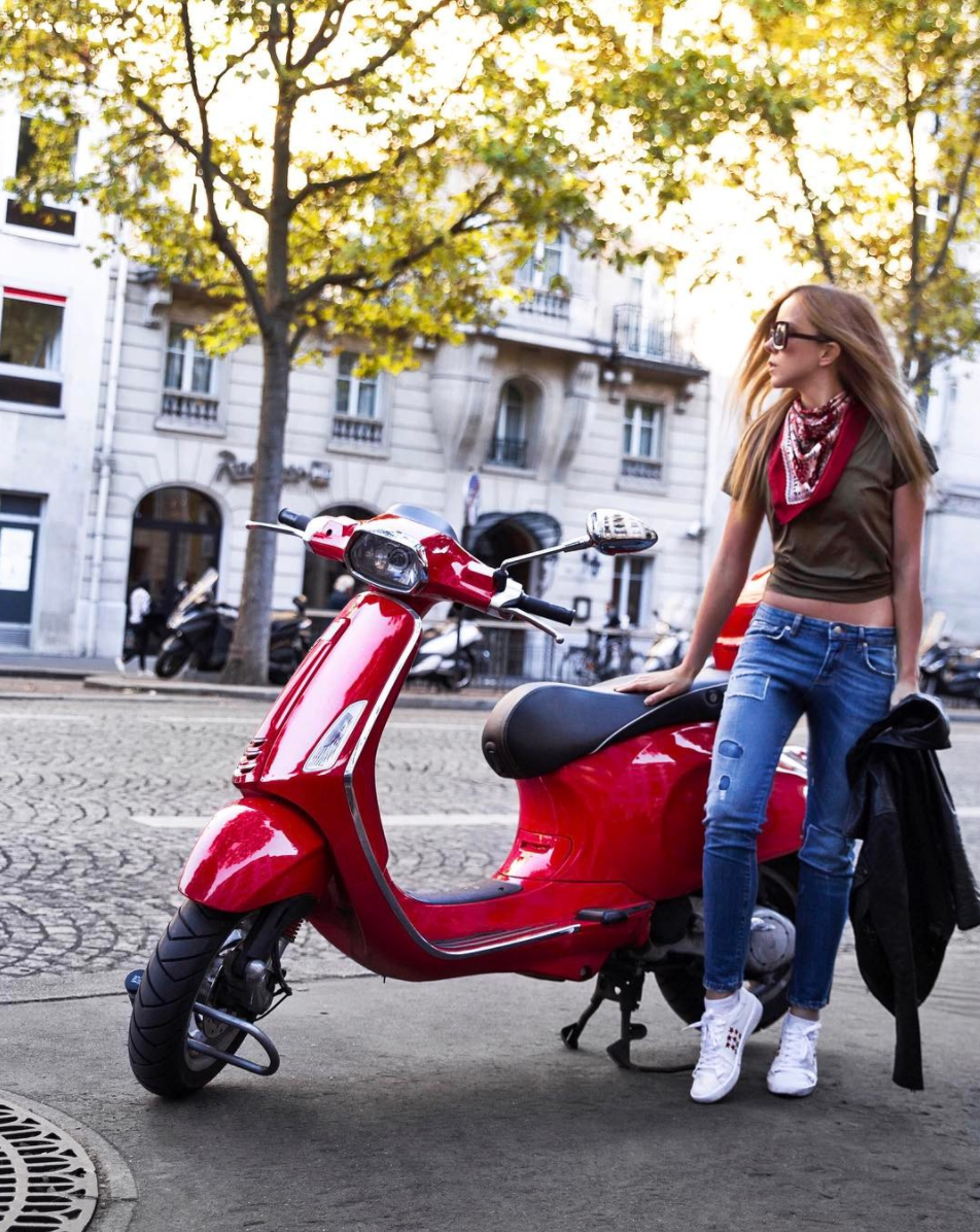 red vespa street style paris fashion week