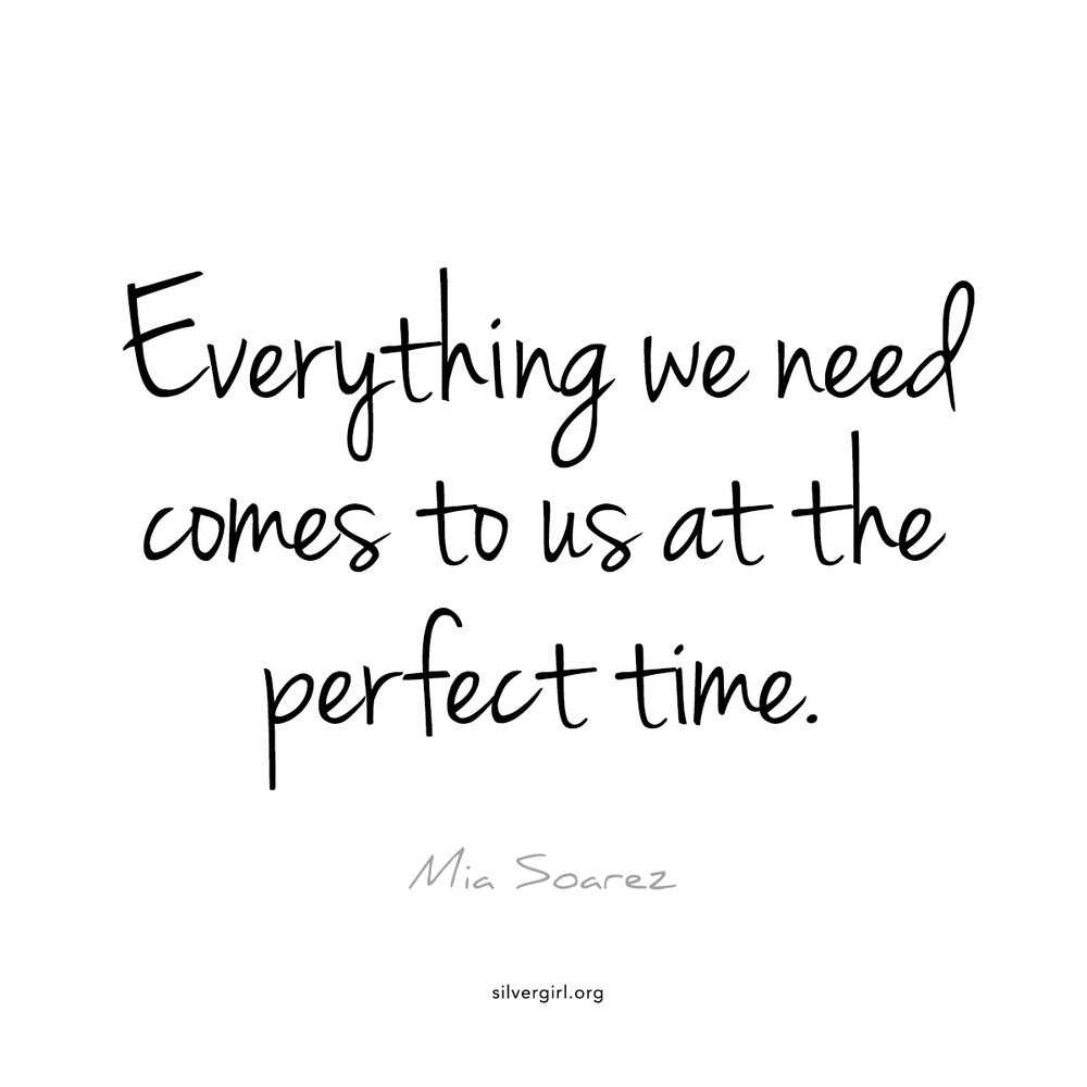 Everything we need comes to us at the perfect time - Mia Soarez