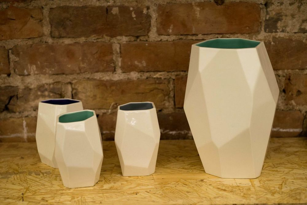 Faceted Vessel multi-faceted porcelain vessels.