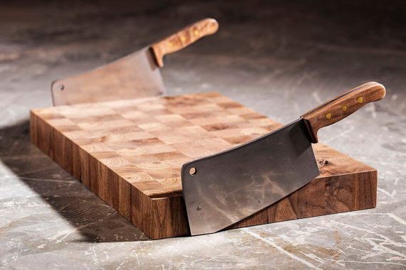 Not your Mother's Cutting Board Black Walnut | Stainless Steel | Brass rivets.