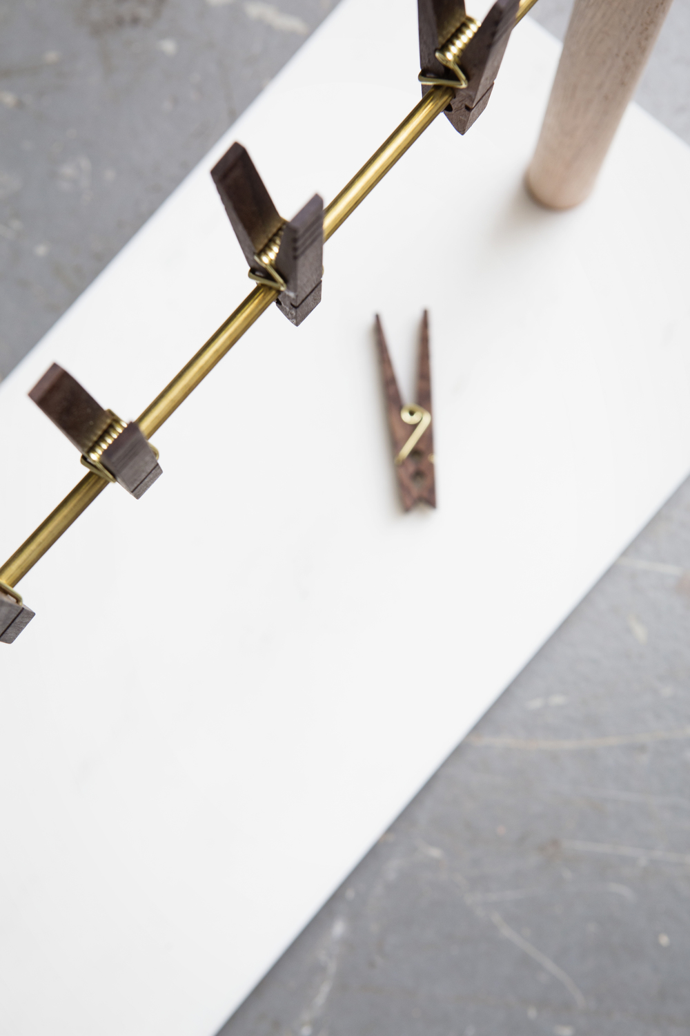 Bacon Hanger | Food Display Carrara Marble | American Black Walnut | Brass