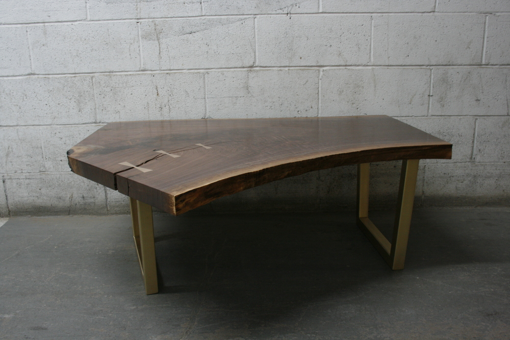 V1 Coffee Table | Live Edge Slab American Black Walnut | Solid Bronze Japanese joinery.