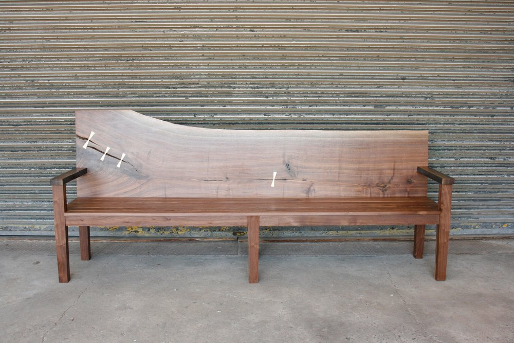 Live Edge Bench | Long Island Museum  American Black Walnut | Bronze Joinery .