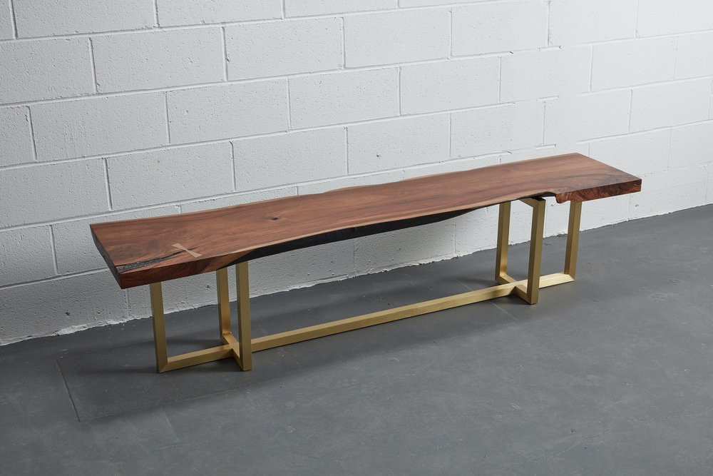 Live Edge Bench | American Black Walnut  Solid Bronze Japanese joinery | Brass base