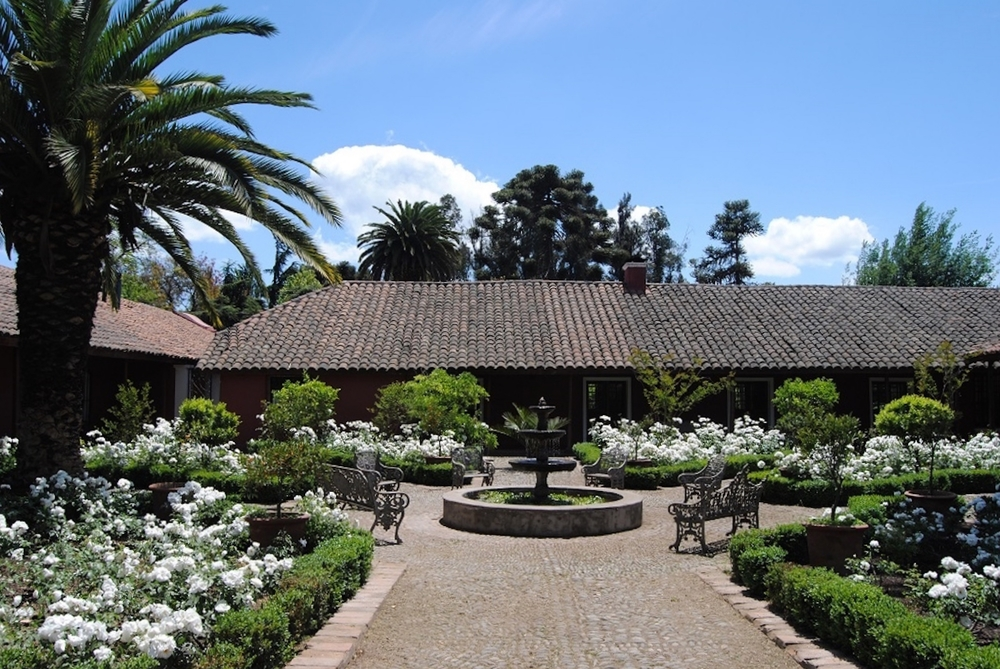 Casona Carrera Boutique Hotel Maipo Wine Valley Santiago Chile front rose garden