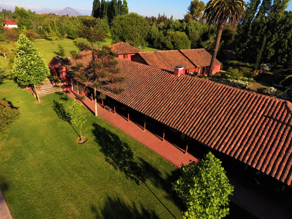 Casona Carrera Boutique Hotel Maipo Wine Valley Santiago Chile pool and Patagonia trees