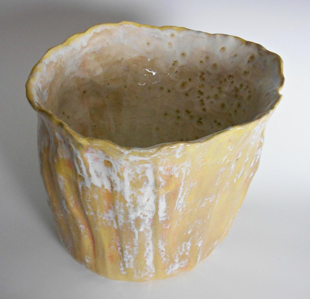 Maggie Minor Designs Yellow and Cream Modern Ceramic Sculpture Vase