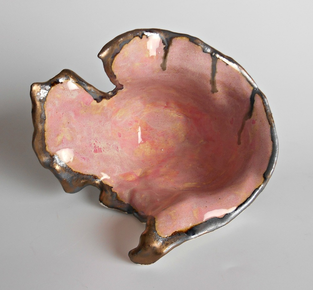 Small Pink and Gold Modern Organic Sculpture by Maggie Minor Designs