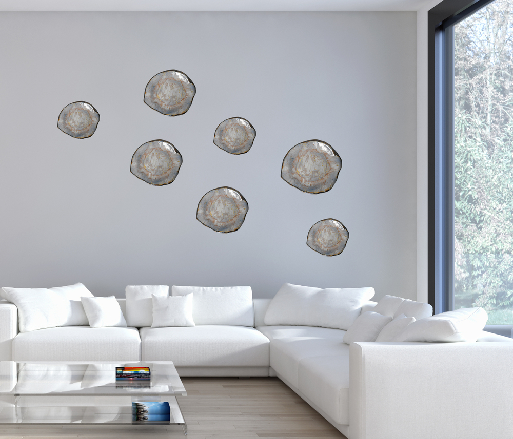 Living Room with Organic-inspired Modern Wall Sculpture by Maggie Minor Designs