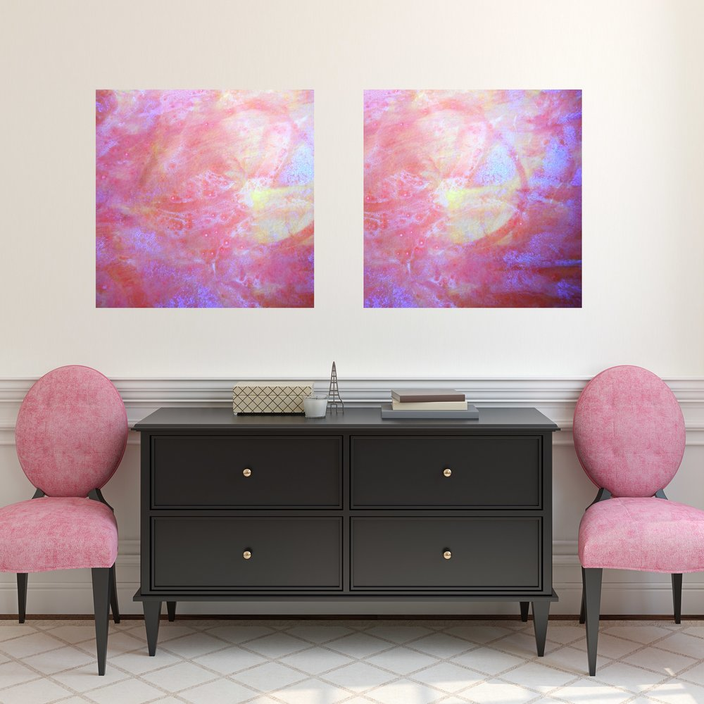 Red and Pink Square Canvas Art in Hallway by Maggie Minor Designs