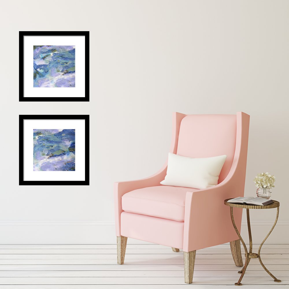 Blue and Green Abstract Framed Prints in Hallway by Maggie Minor Designs