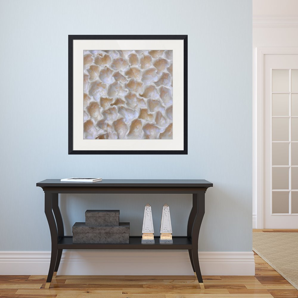 White and Beige Coral-inspired Framed Abstract Print in Hallway by Maggie Minor Designs