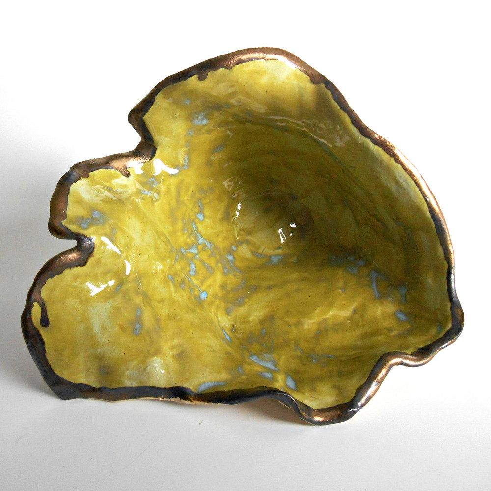 Green and Gold Modern Fine Art Shelf Sculpture by Maggie Minor Designs
