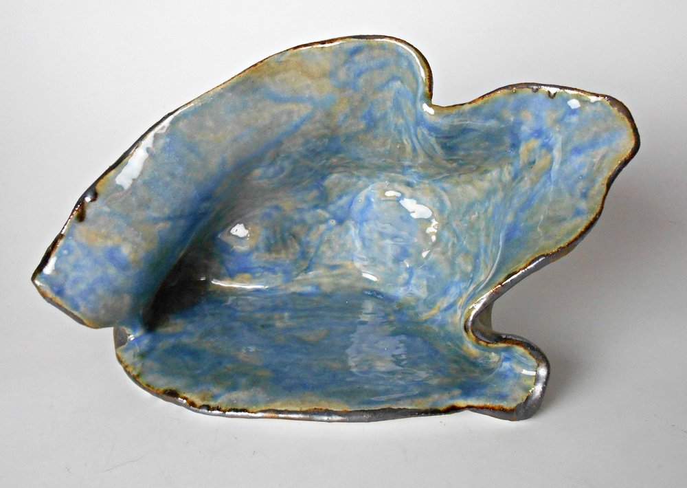 Small Blue Modern Ceramic Organic Sculpture by Maggie Minor Designs