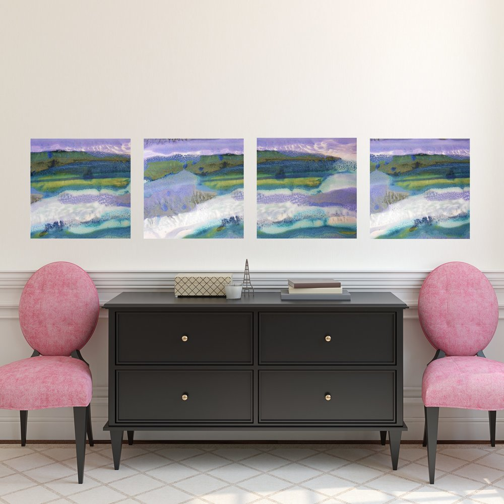 Set of Square Abstract Landscape Canvas Prints in Hallway by Maggie Minor Designs