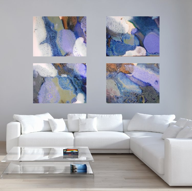 Set of 4 rectangular blue purple white abstract canvas prints 41 44