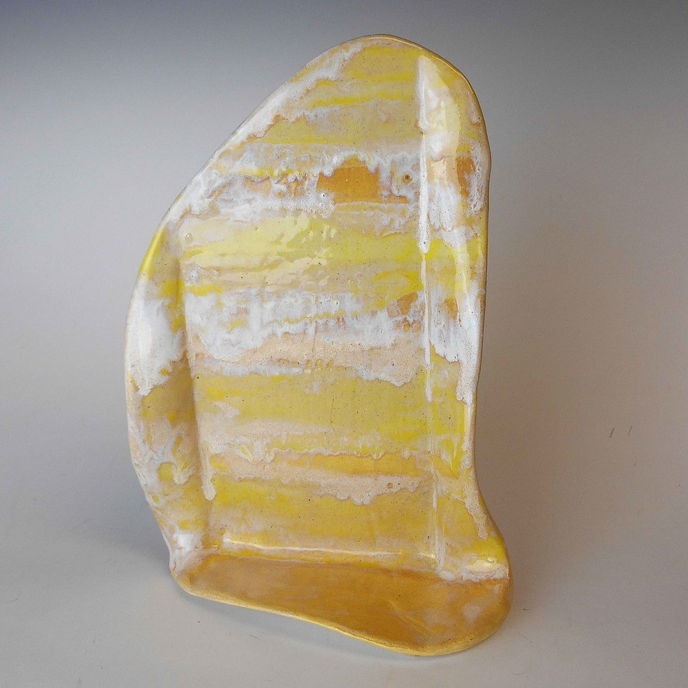 Yellow and White Upright Organic Sculpture