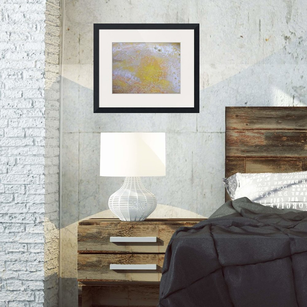 3. closeup yellow abstract rectangle framed print in industrial loft bedroom Maggie Minor Designs.jpg
