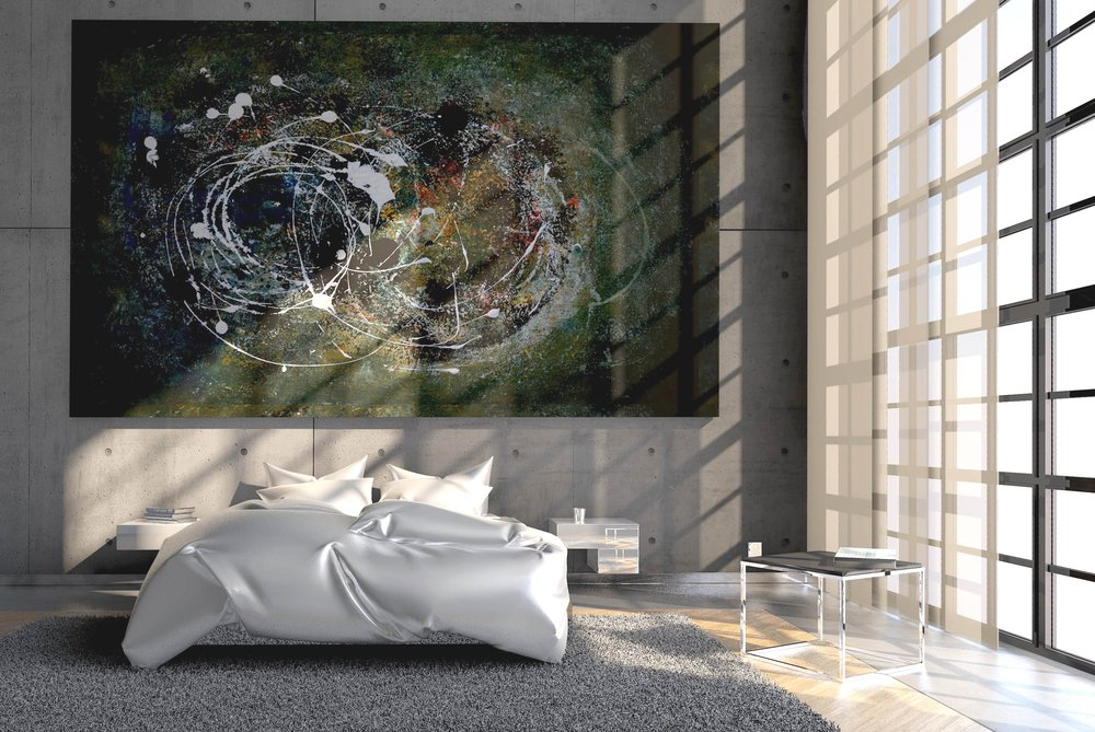 bed with oversized abstract artwork