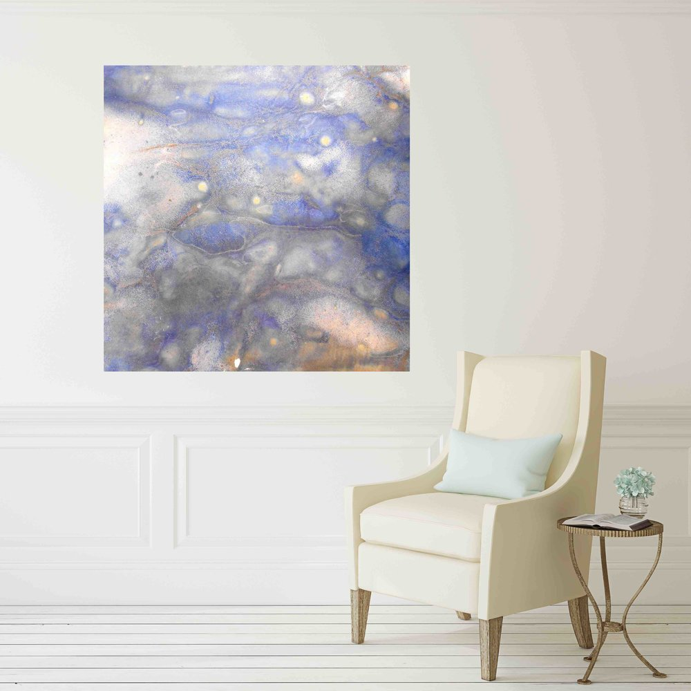 49. v2 blue and white abstract canvas print artwork in hallway with chair Maggie Minor Designs.jpg