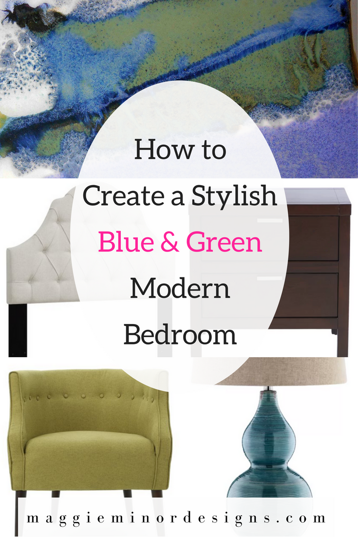 How to Create a Stylish Blue & Green Modern Bedroom Pinterest.png
