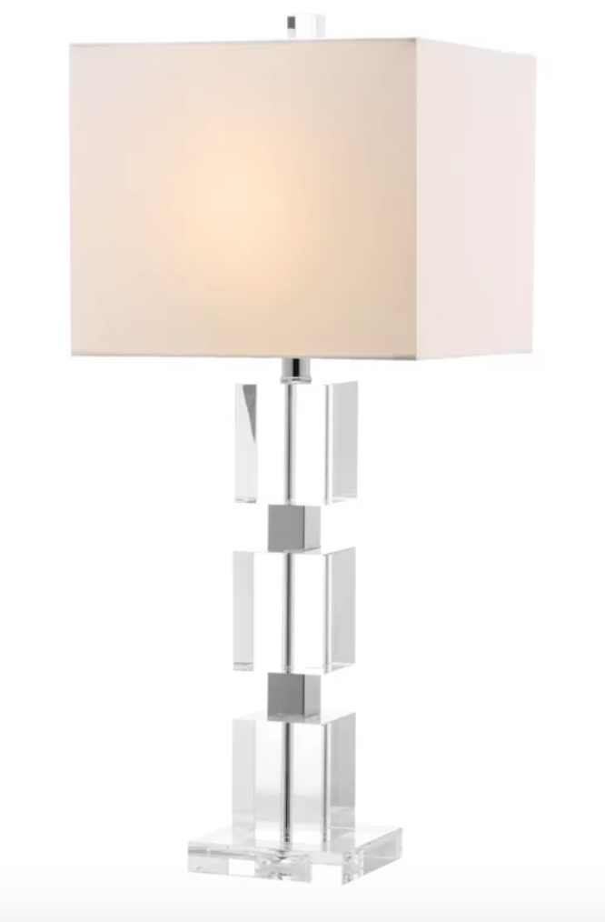clear table lamp with pink artwork