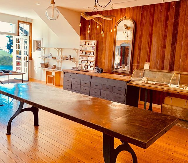 "Industrial steel dining table -one of a kind - Big + BEAUTIFUL! 114"" x 34"" $4000 obo #industrialdesign #vintagehomedecor #honeyandroshop #closingsale #visitmendo #shoplocal #gratitude"
