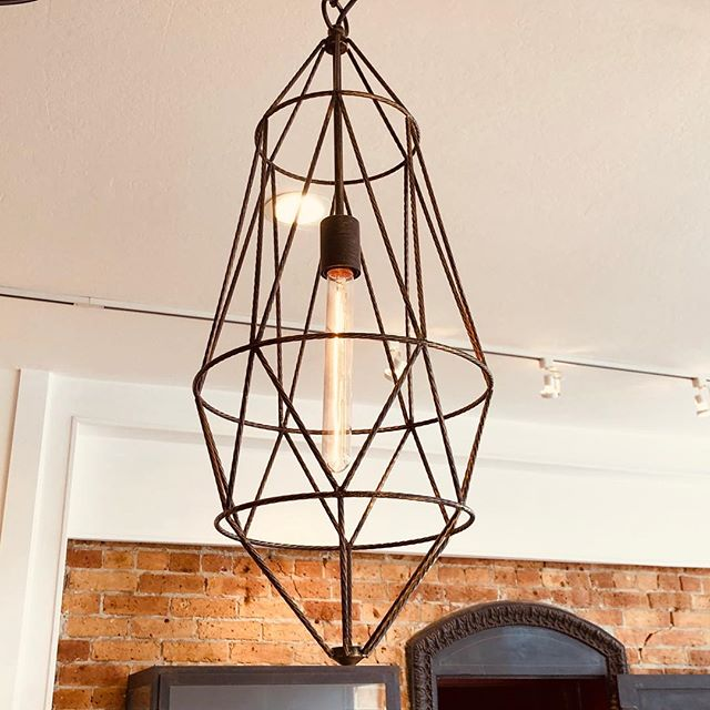 Lights are on! Come shop our selection of fixtures and 50% off everything! Pictured...Roost Gemma Pendant - now $120! #honeyandroshop #closingsale #lighting #50off