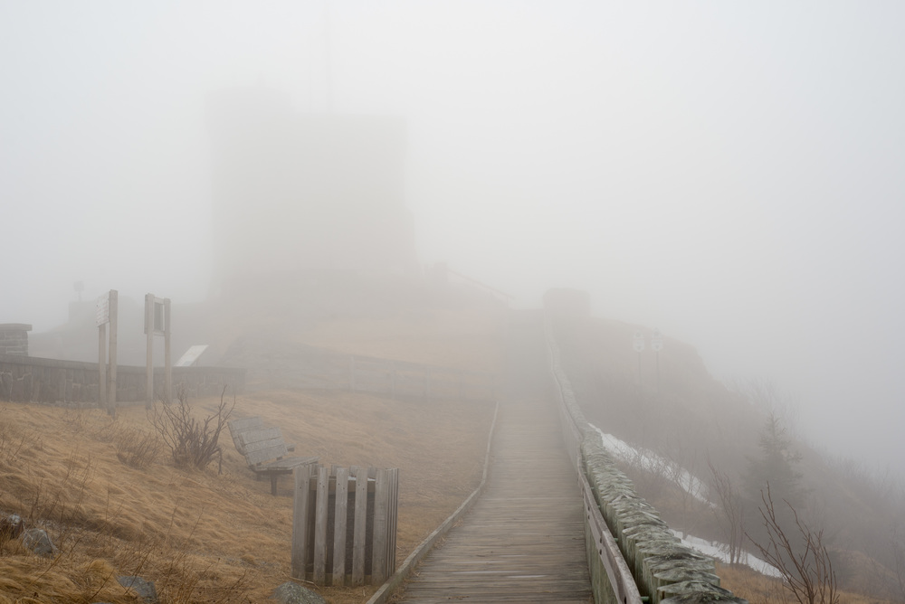 It was very foggy, Cabot Tower was barely an apparition from the board walk just a few dozen metres away.