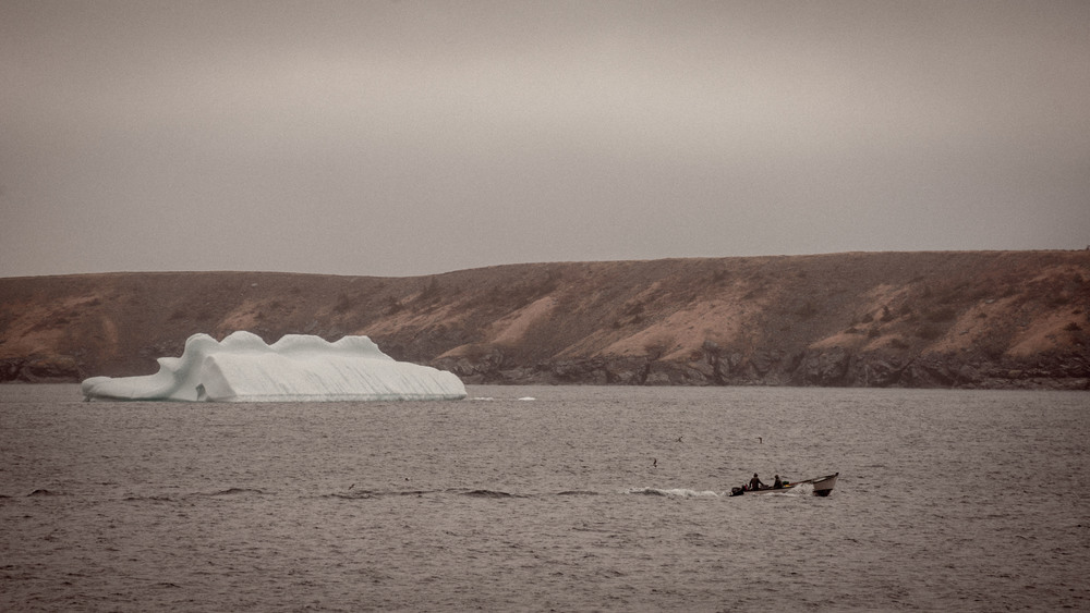 These two were out setting lobster pots. Processed this to have an older feel to it. Many of us view icebergs in wonder and appreciation, but I wonder if they were always appreciated for their natural beauty or if in an older time they were just seen as a nuisance.