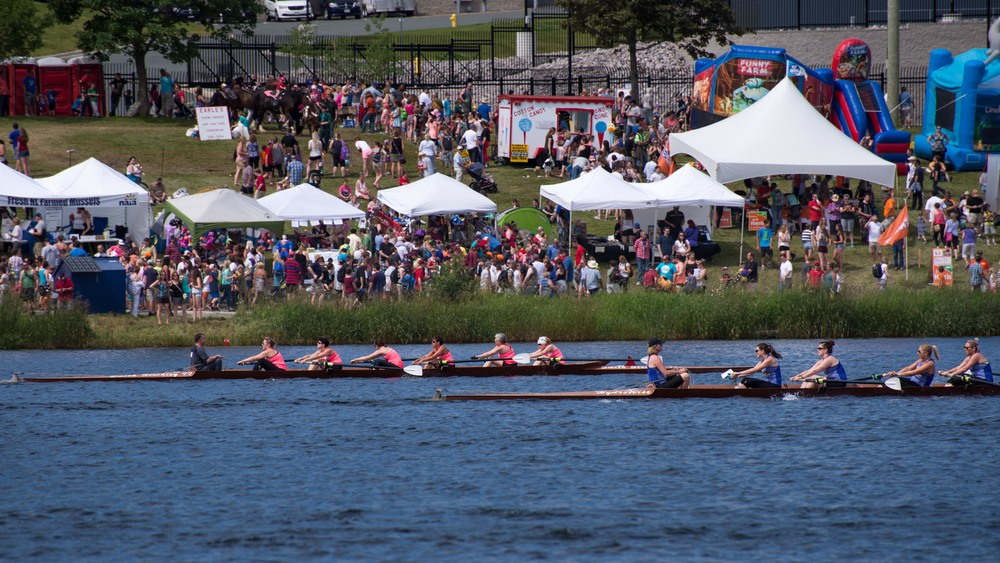 The woman rowing in the pink with the bandana in the rear of the boat is my boss, Amanda. They finished second I believe, not easy!