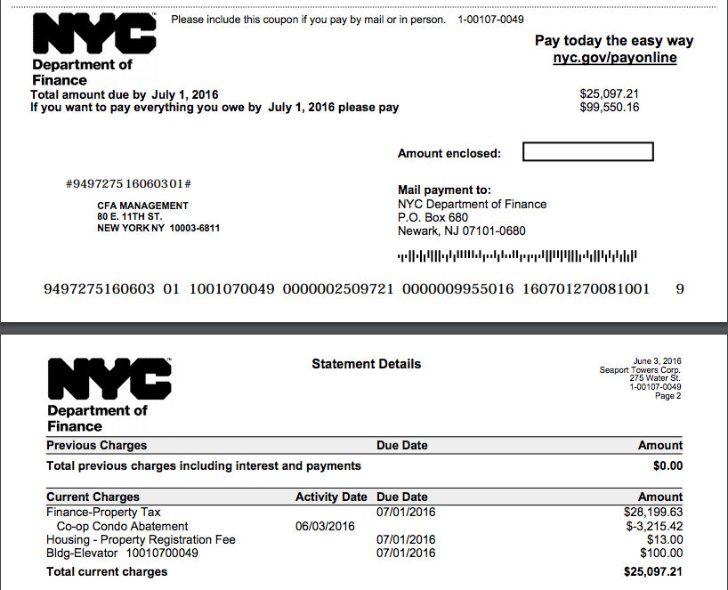 NYC Real Estate Taxes provided by the NYC Department of Finance