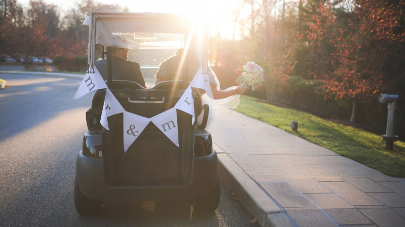 Bride Groom Golfcart
